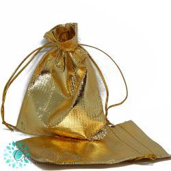 10 Pz Sacchetti in tessuto metal oro 11x10cm
