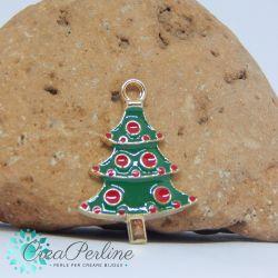 Ciondolo di Natale Albero Bianco 21x16 mm