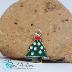 Ciondolo di Natale Albero Verde Rosso 25x18 mm