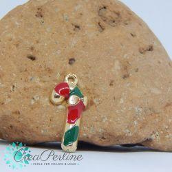 Ciondolo di Natale Albero Verde Bianco 20x14 mm