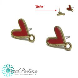 1 Paio Basi per orecchini perno Cuore Rosso in lega di zinco + retro