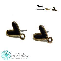 1 Paio Basi per orecchini perno Cuore Nero in lega di zinco + retro