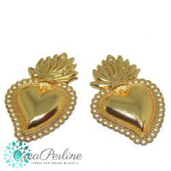 Ciondolo cuore Sacro  40x25mm in lega di zinco tono oro