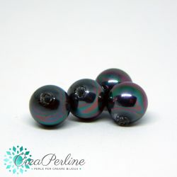 2 Pz Perle di Maiorca sfera mezzo foro grado A Bianco  6mm