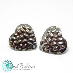 1 Paio Basi per orecchini perno Cuore Ciottoli in acciaio  + retro