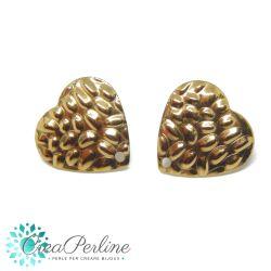 1 Paio Basi per orecchini perno Cuore Ciottoli in acciaio tono oro + retro