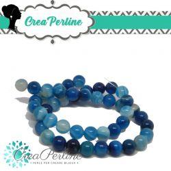 1 Filo 48 Pz Perle in pietra dura Agata Striata Blu 8mm