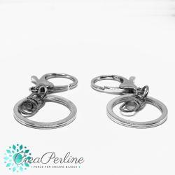 2 Pz Portachiavi delux con moschettone anello e connettore girevole tono platino