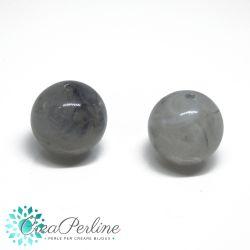 2 Pz Perla in Acrilico resina imitazione pietre dure Agata grigio 18mm