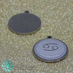 Ciondolo Medaglia Tonda CANCRO in acciaio inossidabile