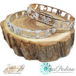 Bracciale donna braccialetto rigido manetta con scritta Amica