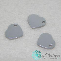 4 Pz Ciondolo cuore cuoricino in acciaio inossidabile