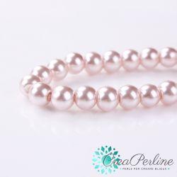 15  Pz  perla in vetro cerato 12 mm Cipria Rosa antico  perlato