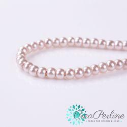 1 Filo +/-135pz  perla in vetro cerato 6 mm Cipria Rosa antico  perlato