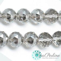 2 Pz Sfera in Vetro k9 mezzo cristallo tonda sfaccettata Silver Night 13mm