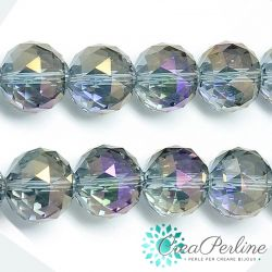 2 Pz Sfera in Vetro k9 mezzo cristallo tonda sfaccettata Lilla Arcobaleno 13mm