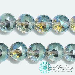 2 Pz Sfera in Vetro k9 mezzo cristallo tonda sfaccettata Azzurro Arcobaleno 16mm