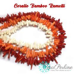 Filo  chips torniti in Corallo bamboo rosso 42 cm