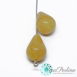2 Pz  Goccia in Acrilico Effetto Opale giallo