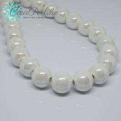 4 Pezzi Perla Sfera Bianco perlato in ceramica fatta a mano smaltata 15 mm