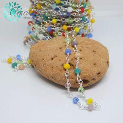 Catena Stile Rosario in ottone argento cristalli multicolor primavera  -50 cm