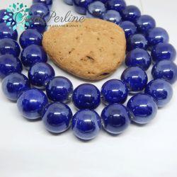 4 Pezzi Perla Sfera Blu Lucida in ceramica fatta a mano smaltata 17 mm