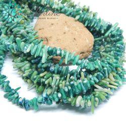 Filo  chips torniti in Corallo bamboo verde 42 cm