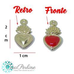 Ciondolo Cuore Sacro in Ottone tono Oro / smaltato Rosso 20x10mm 3d