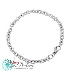 Base bracciale  in acciaio inossidabile Catenina sottile rosario