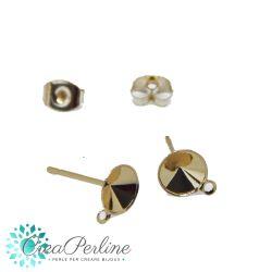 1 Paio Perno per orecchini per chaton 6 mm in acciaio tono oro  + retro