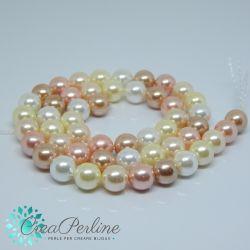 1 filo perle di maiorca 8 mm toni perlati lt bronzo bianco jonquil pesca 50 pz