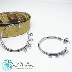 Orecchini Perno Cerchio in acciaio inossidabile con anelline 32 mm