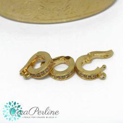 Gancio porta pendente tondo in ottone apribile tono oro con zirconi