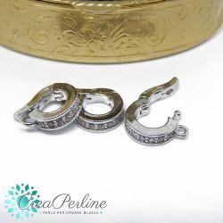 Gancio porta pendente tondo in ottone apribile tono platino con zirconi