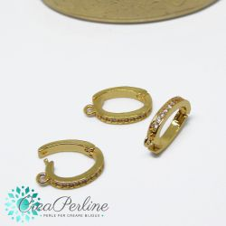 Gancio porta pendente ovale in ottone apribile tono oro con zirconi