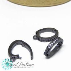 Gancio porta pendente ovale in ottone apribile tono antracite con zirconi