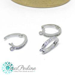 Gancio porta pendente ovale in ottone apribile tono platino con zirconi