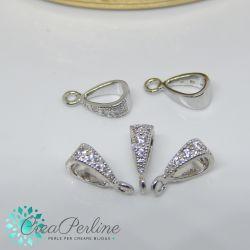 Perla Gancio porta pendente in ottone tono argento con zirconi