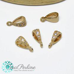 Perla Gancio porta pendente in ottone tono oro con zirconi