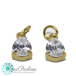 Charms Ciondolo Goccia in ottone tono oro  con zircone crystal