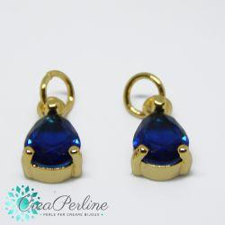 Charms Ciondolo Goccia in ottone tono oro  con zircone Blu sapphire