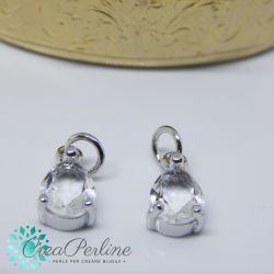 Charms Ciondolo Goccia in ottone tono argento  con zircone crystal