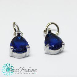 Charms Ciondolo Goccia in ottone tono argento  con zircone Blu Sapphire