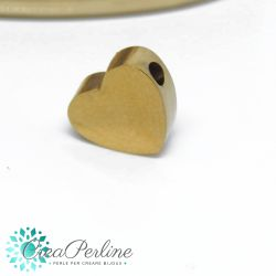 Perla Cuore in acciaio tono oro 7x8mm