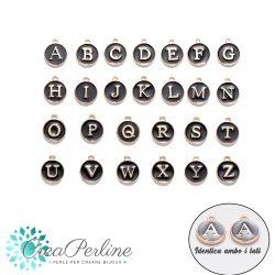 Ciondoli  Alfabeto completo pastiglia 12mm 26 lettere nero oro