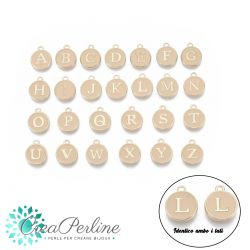 Ciondoli  Alfabeto completo pastiglia 12mm 26 lettere Bianco oro