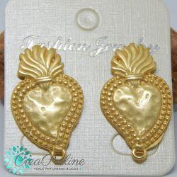 1 Paio Perno in Zama per orecchini Tono oro Etrusco Medaglia Erosa