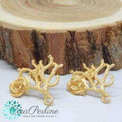 1 Paio Perno in Zama per orecchini Oro Satin Corallo / Rosa