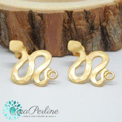 1 Paio Perno in Zama per orecchini Oro Serpente