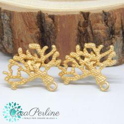 1 Paio Perno in Zama per orecchini Oro Rametto Corallo largo